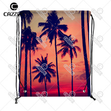 Summer Style Silhouette Coconut Palm on Sunset Print Custom individual Nylon Fabric Drawstring Shoes Storage Dust Bag Pack of 4