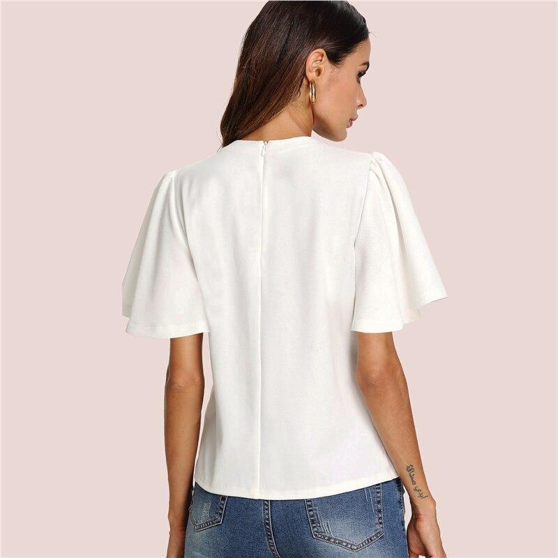 Sheinside Flutter Sleeve Zip Back Top 18 New Summer Short Sleeve Round Neck Blouses Women Plain White Elegant Blouse 9