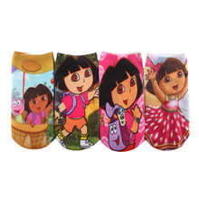 6Pcs/1lot Baby Girls Socks Cartoon Print Dora Character Cotton Socks 2017 New Arrival Spring Summer Clothing For 2-10 Years GZ30