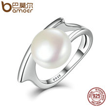 BAMOER New Collection Authentic 100% 925 Sterling Silver Fresh Water Cultured Pearl Rings for Women Wedding Jewelry SCR034(China)
