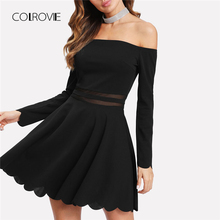 Buy COLROVIE Mesh Insert Bardot Fit & Flare Dress 2018 New Line Long Sleeve Short Dress Female Shoulder Party Dress for $15.99 in AliExpress store