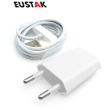 Eustak For iphone 4 USB Charger 30 pin EU Plug AC Travel Wall Charging Fast Charger For iphone 4s 4 3GS iPod Nano / Touch 5V 1A(China)