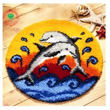 Free Shipping DIY Needlework Kit Unfinished Crocheting Yarn Rug Embroidery Carpet Handmade Floor Mat double dolphin fish Picture(China)