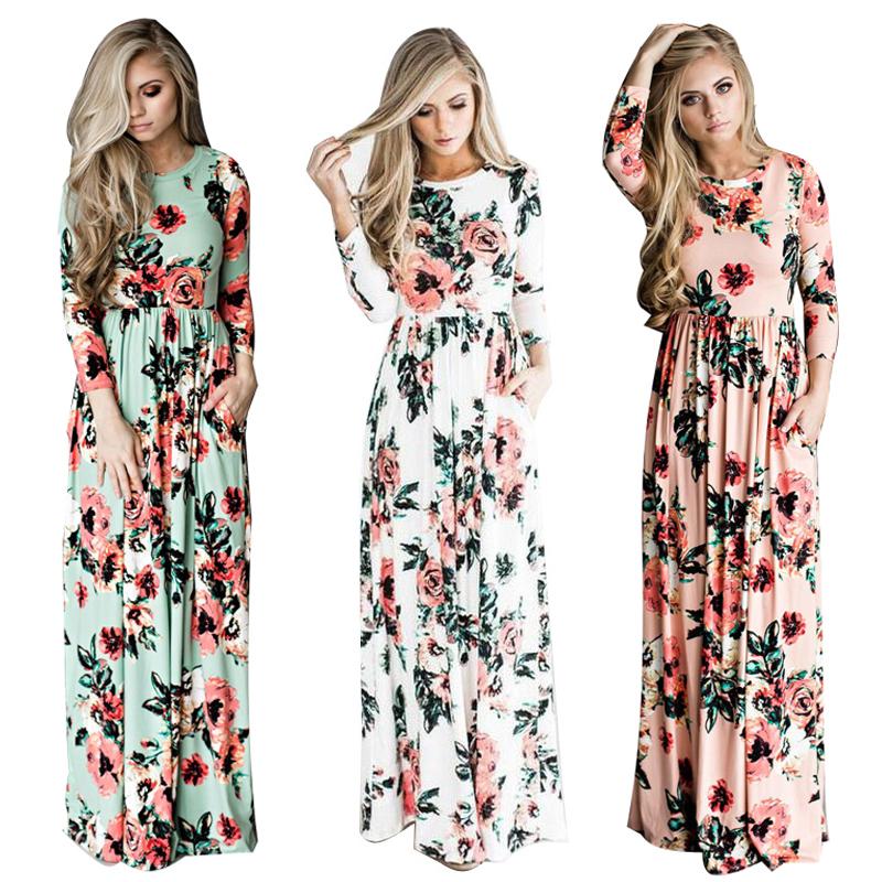 ELSVIOS-2017-Summer-Boho-Beach-Dress-Fashion-Floral-Printed-Women-Long-Dress-Three-Quarter-sleeve-Loose (1)