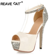REAVE CAT Diamond Ladies pumps Women shoes High heels Platforms Peep toe Fashion Party Black White Gold Sliver Red Size 34-43