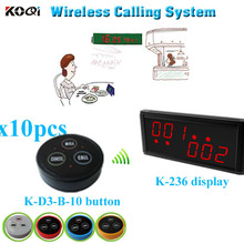 Restaurant Wireless Pager System with K-236  monitor  K- D3  transmitter button   (1 display+ 10 table bell button)
