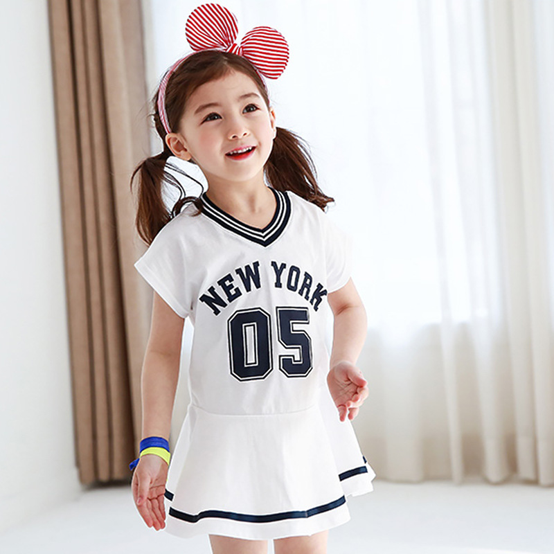 cotton mini dress kids 2017 summer spring ruffles letter printed white blue children dresses girls new 2017 sports clothes<br><br>Aliexpress