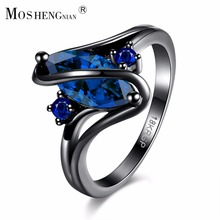Gorgeous Rainbow Fire Opal Rings For Women Men Black Gold Filled Wedding Party Engagement Promise Ring Christmas Gift(China)