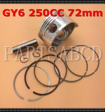 72mm GY6 250CC Water Cool Engine Piston Set GY6 250CC Scooter atv go kart(China)