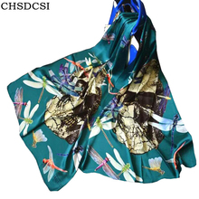CHSDCSI 2017 New Women Skull Printed Lady Chiffon Silk Scarves Designer Acrylic Basic Shawls Elegant Women's Scarves And Wraps(China)