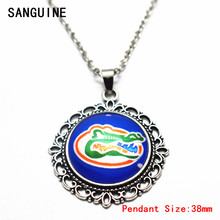 Silver 20 Inches Chains Necklace Vintage Round NCAA Florida Gators Pattern Glass Pendant Necklace For Women Necklace DIY Jewelry(China)