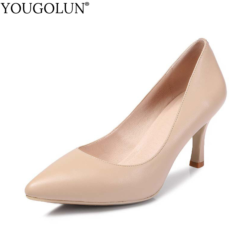 YOUGOLUN Women Pumps New Spring Genuine Cow Leather High Thin Heel 7.5 cm Apricot Black Sexy Lady Pointed toe Party Shoes #A-029<br>