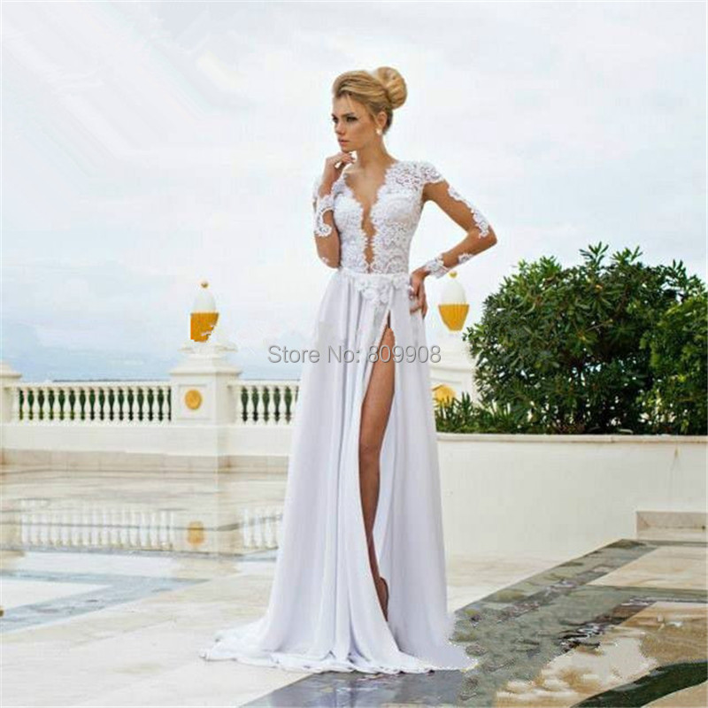 Online Buy Wholesale white long sleeve prom dress from China white ...