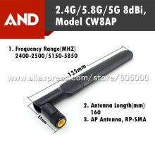 Free Shipping Dual Band 8dBi WIFI Antenna, 16CM RF-SMA  (not include cable)