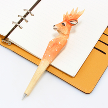 Cute creative Deer Writing Pen Ball Point Wooden Novelty Gift School Stationary Ballpoint free shipping