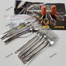 Wholesale 5pcs each lot Mani Spoon and Fork with Gimmick  DVD close up magic magic sets magic tricks magic toys