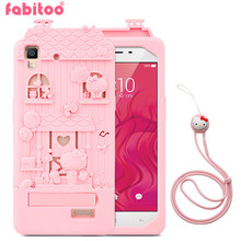 For OPPO R7 3D Cute Cartoon Fabitoo Hello Kitty Phone Case Soft Silicone Rubber Back Cover With Lanyard