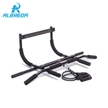 ALBREDA Door Pull up bar Push Portable 200kg with resistance bands fitness horizontal bar Wall frame bar Bodybuilding training(China)