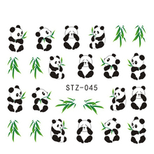 1sheets Pretty Animal Panda with Bamboo Cute Nail Stickers Water Transfer French Tips Wraps Decals on nails Decorations STZ045