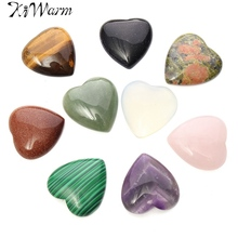 Kiwarm Natural Colorful Crystal Quartz Stone Heart Shape Healing Gemstone Craft Home Wedding Party Office Decor Holiday Gift