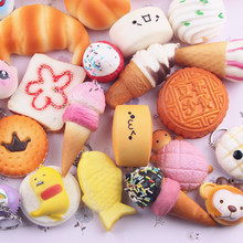 20pcs/Lot Cute Bread Cell Phone Decoration Random Squishy Slow Rising Soft Panda/Bread/Cake/Buns Phone Straps Pendant Kids Gift