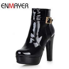 ENMAYER High Heels Zippers Ankle Boots for Women Platform Shoes Winter Boots Sexy Red Black Motorcycle Boots Plus Size 34-43