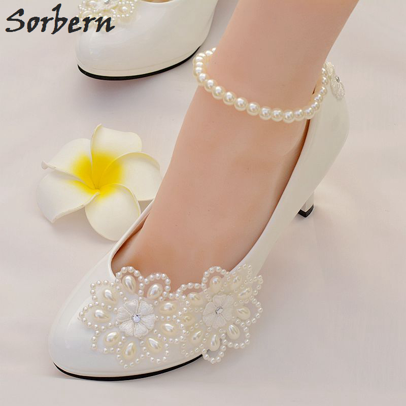 Sorbern White Lace Appliques Flowers Wedding Heels Summer Wedding Shoes Beading Ankle Straps Pointed Toe Bridal Shoes Pump Heels<br>