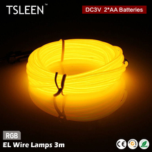 TSLEEN Special Offer 3M Flexible Neon Light Glow EL Wire Rope tape tube Shoes Clothing Car waterproof led strip white blue green