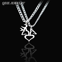 QIHE JEWELRY Hand Cut Coins Buck And Doe Kissing Heart Shape Necklace Set For Men Women Couple Jewelry Wholesale Drop Shipping(China)