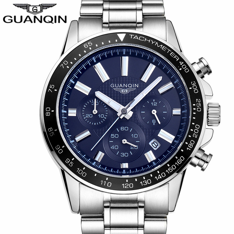 Mens Watches Top Brand Luxury GUANQIN Business Stainless Steel Quartz Watch Men Sport Waterproof Wristwatch relogio masculino<br>