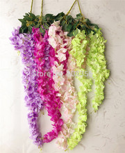 5pcs Artificial Cherry Blossom Vine Wisteria Vines Hydrangea Flower Vine Pink/Cream/Fuchsia for Party Wedding Floral Decoration(China)