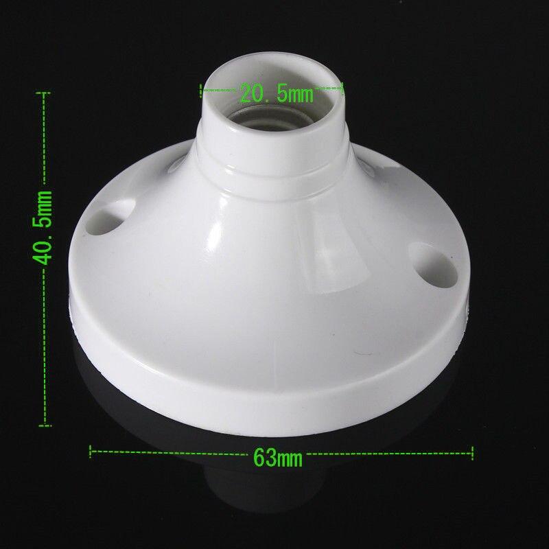 2pcs E14 Edison Round Plastic Base Screw Light Bulb Lamp Holder Socket White