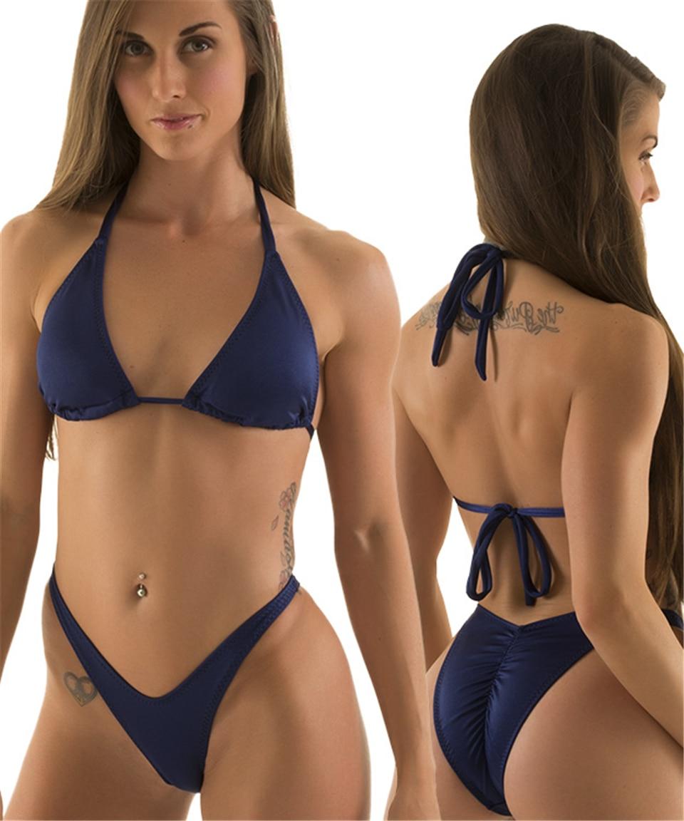 2017 New Sexy Strapless Bikini Set Women Micro Swimwear V Thong Bottom Solid Halter Swimsuit Strappy Padded Bathing Suit  20<br><br>Aliexpress