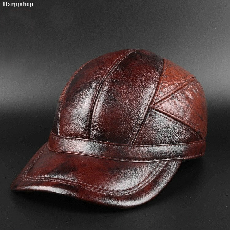 Winter new head layer cowhide hat men casual Baseball Cap Hat ear warm leather peaked cap<br>