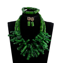 Real Coral Beads Green Chunky Beads Statement Necklace Set African Nigerian Wedding Coral Beads Jewelry Set Baroque Style ABH787(China)