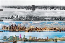 DIY frame New York City Panorama Evolution (1876-2013) Urban Landscape posters and print home decor silk Fabric Poster Print