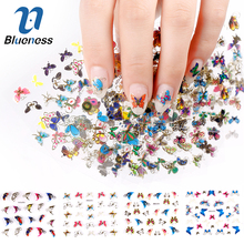 Blueness 3D Nail Sticker 24Pcs Large Size Sheet Moon Butterfly Animal Pattern For Stamping Charms Bronzing Nail Art Decals JH130