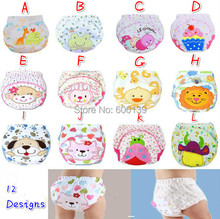 Cute cartoon embroidery Training Pants Briefs washable Underwear Infant baby boys girls Cotton Waterproof Reusable Nappy Diaper(China)