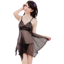 Sexy Underwear Fashion Women Sexy Lingerie Hot Lady's Diaphanous Pajama Lace Skirt Sexy Sleepwear Plus Size Lingerie(China)