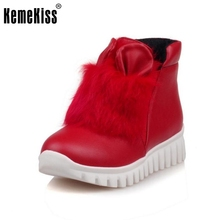 Brand New Women Ankle Boots Woman Round Toe Flat Leisure Botines Mujer Brand New Fur Warm Winter Footwear Shoes Size 29-46(China)