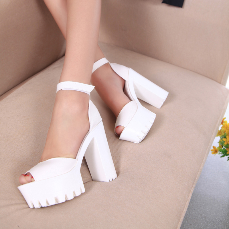 Women Sandals New 2016 Summer Shoes Open Toe Sandals Platform Thick Heel High-heeled Shoes White Black Womens Shoes Size 35-39<br><br>Aliexpress