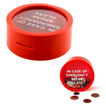 Simple Novelty Safe Round Red Money Box Saving Bank In Case Of Emergency Coin Smash Gadget Piggy Bank For Kids(China)