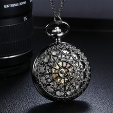 Unisex Vintage Pocket Watch Archaize Black Quartz Antique Pocket Watches with Chain Steampunk Anniversary Wedding Groomsmen Gift(China)