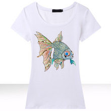 Candy rain Europe and America style flower baskets Bicycle casual tshirt women short sleeve cotton t-shirt tops 21 color M-3XL