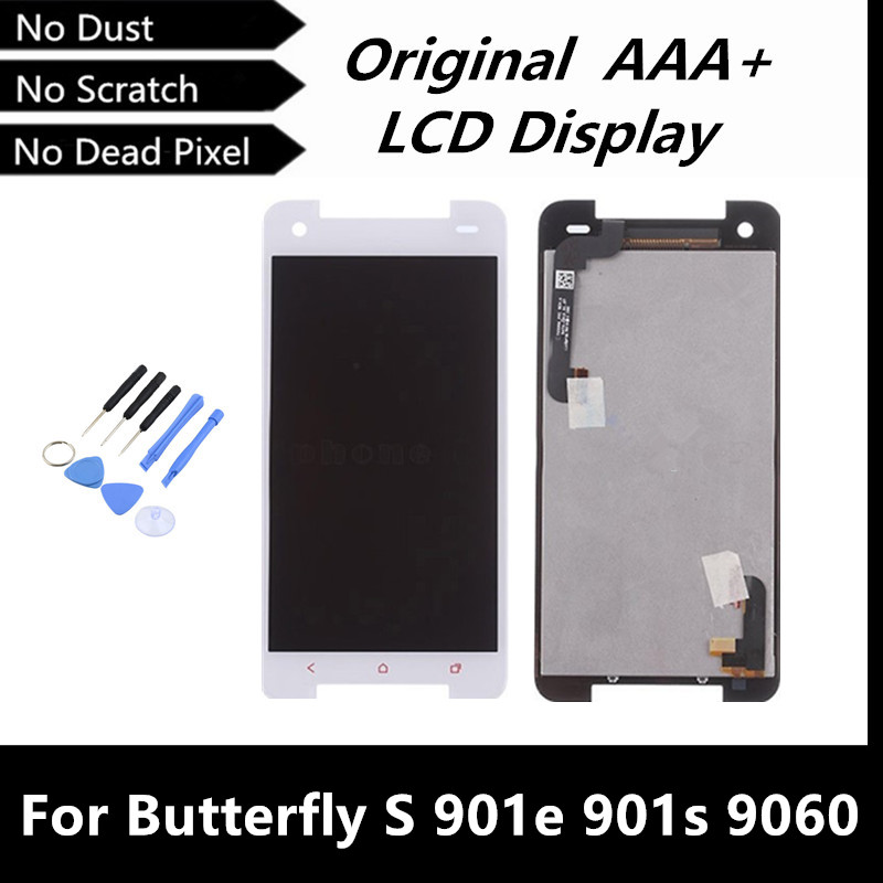 100% Good White Original LCD for HTC Butterfly S 901e 901s 9060 LCD Display Touch Screen Digitizer Assembly Replacement Parts<br><br>Aliexpress