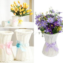 S-home 1Pc Artificial Rattan Vase Flower Fruit Candy Storage Basket Garden Party Decor MAR14
