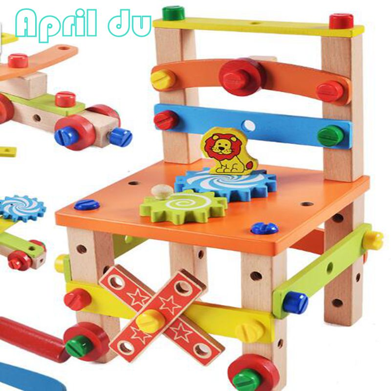 Childrens disassembly chair wooden educational toys Montessori Educational wooden Diy Kids toy<br>