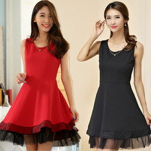 F~3XL Brand Sexy Club Dress 2016 Vestido Summer Fashion Plus Big Size Red Sleeveless Puffy Knit Stretch Party Vest Organza Gown(China)