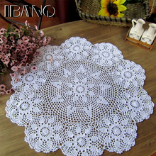 Handmade Crochet Coasters Cotton Lace Cup Mat Placemat 60/70/ 80/ 90 CM RD Shabby Chic 4 Sizes Vintage Crocheted Tablecloth(China)