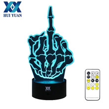 HUI YUAN Middle finger Lamp 3D Visual Led Lights for Kids Touch USB Table as Lampe Baby Sleeping Nightlight A controller